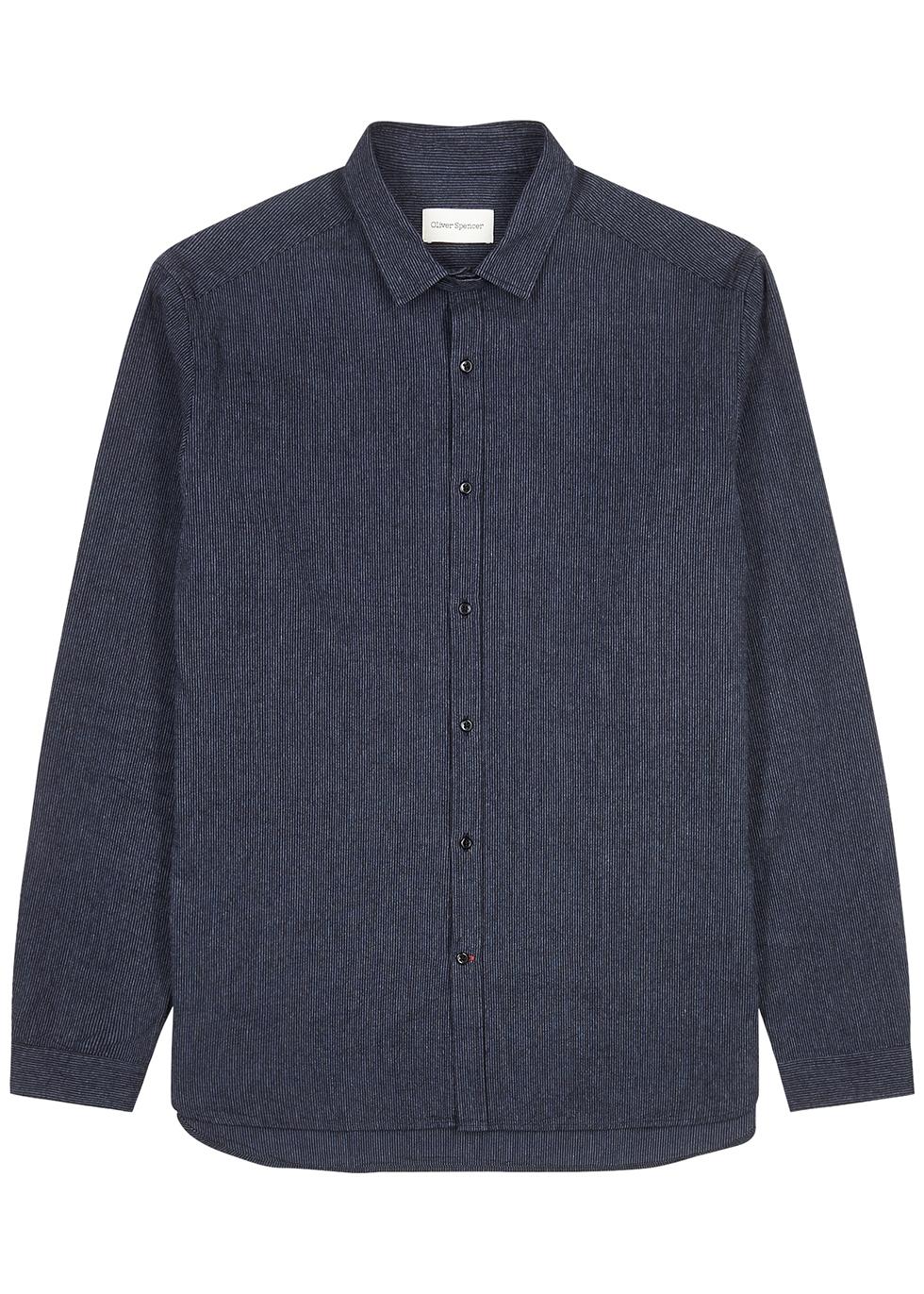 Clerkenwell navy striped cotton shirt