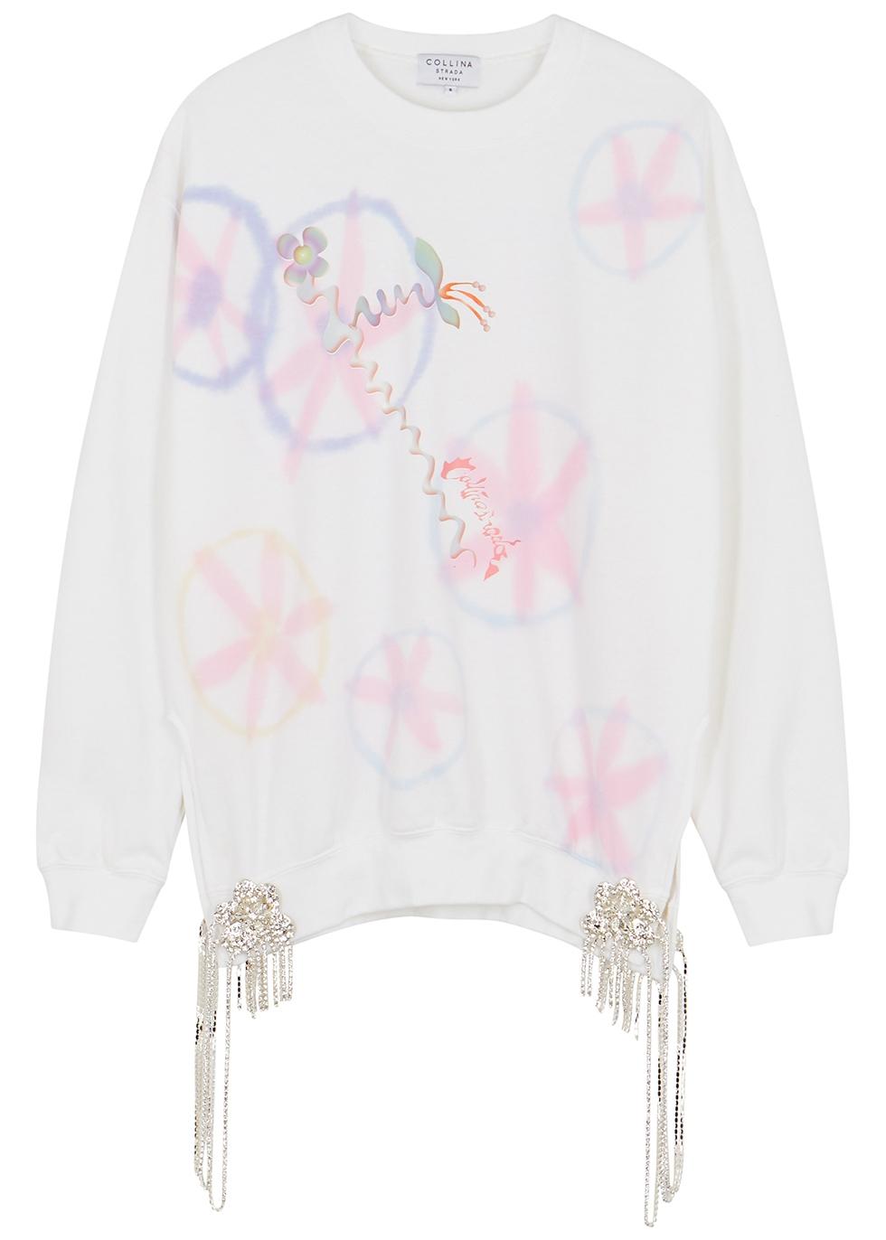 Curtain printed embellished jersey sweatshirt