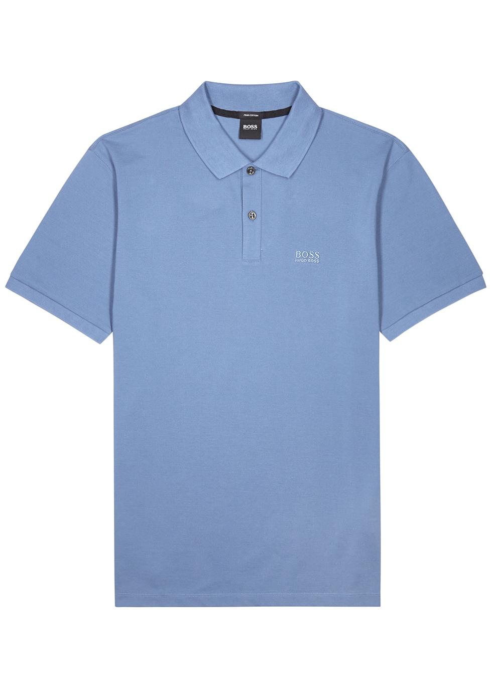 Pallas blue piqué cotton polo shirt