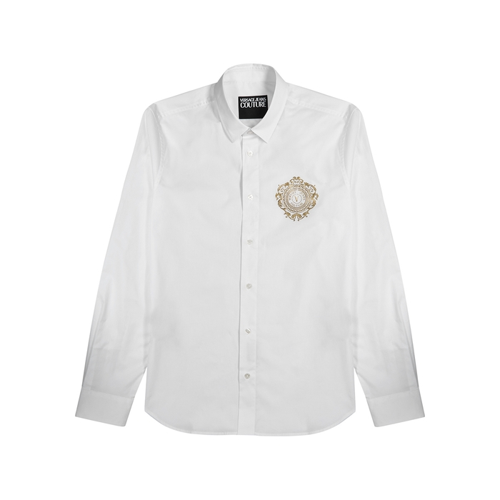 Versace Jeans Couture WHITE LOGO-PRINT STRETCH-COTTON SHIRT