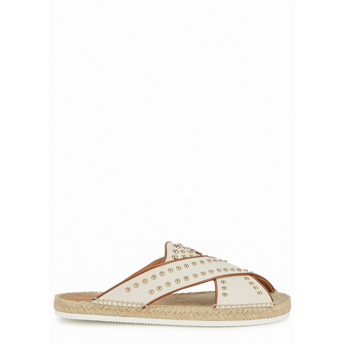 See By Chloé SEE BY CHLOÉ PIA OFF-WHITE STUDDED LEATHER SLIDERS