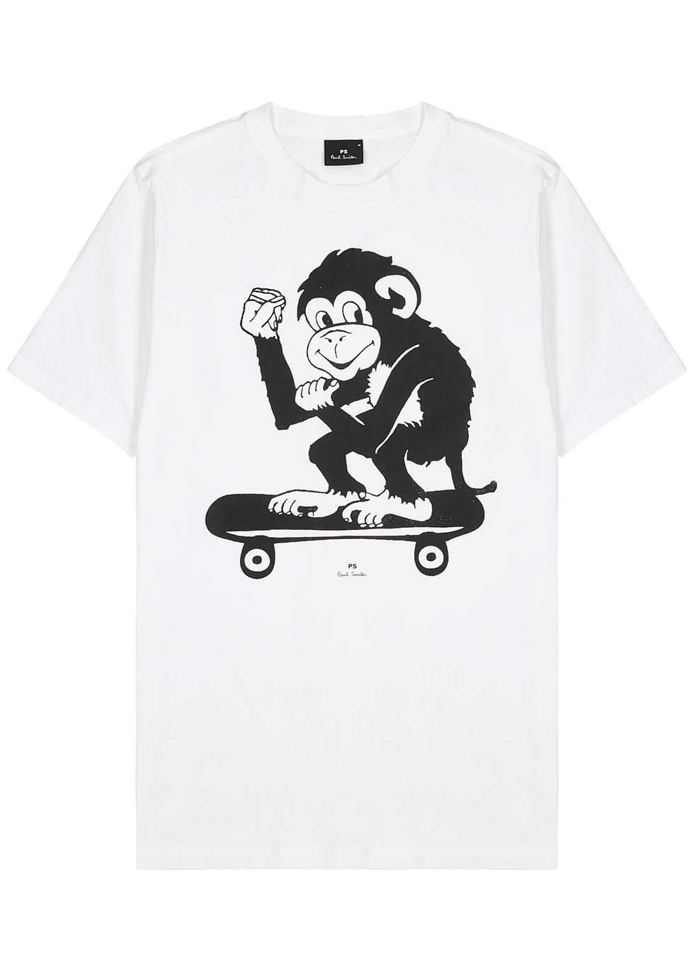 White printed cotton T-shirt