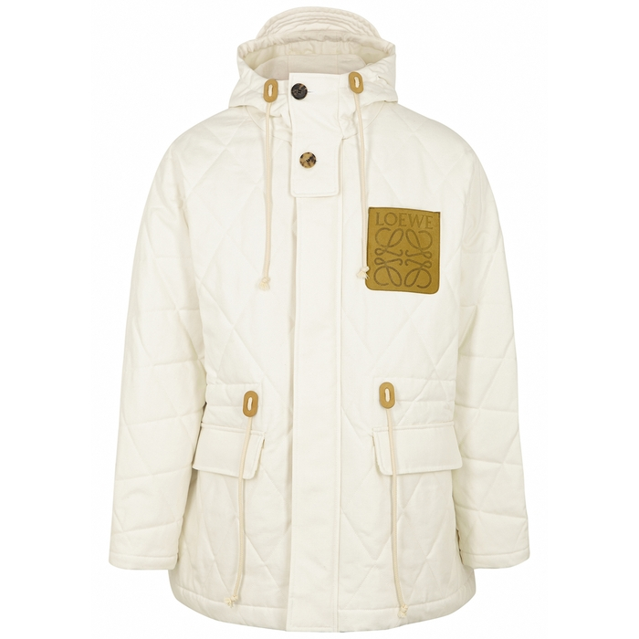 Loewe Jackets OFF-WHITE QUILTED CANVAS PARKA