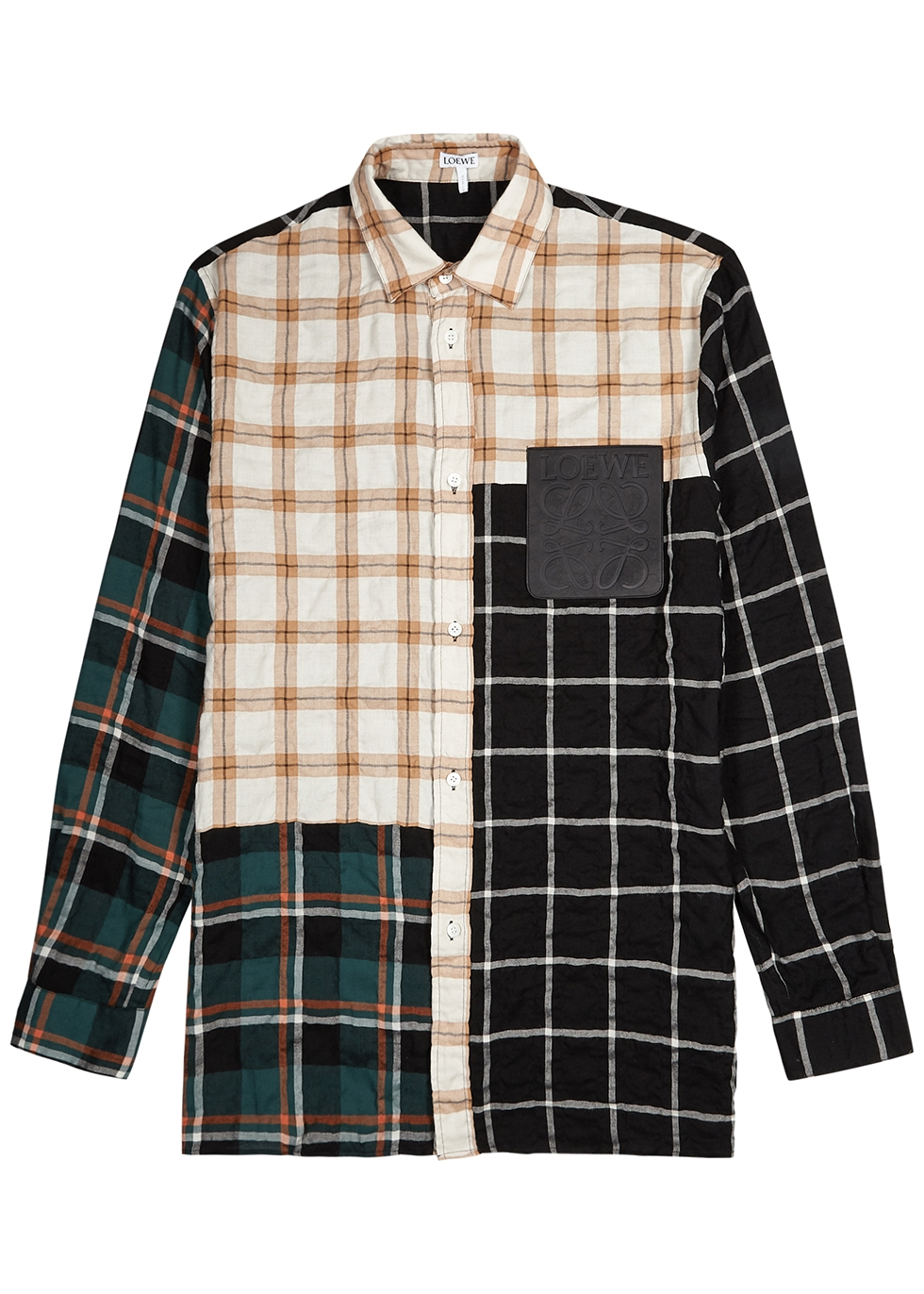 Checked panelled overshirt