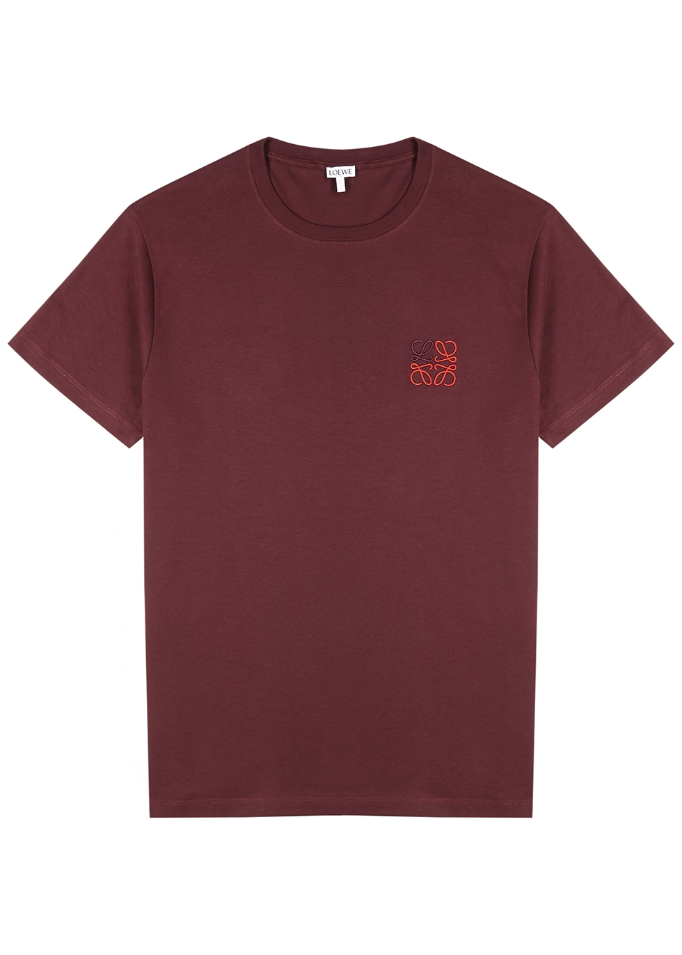 Burgundy logo-embroidered cotton T-shirt