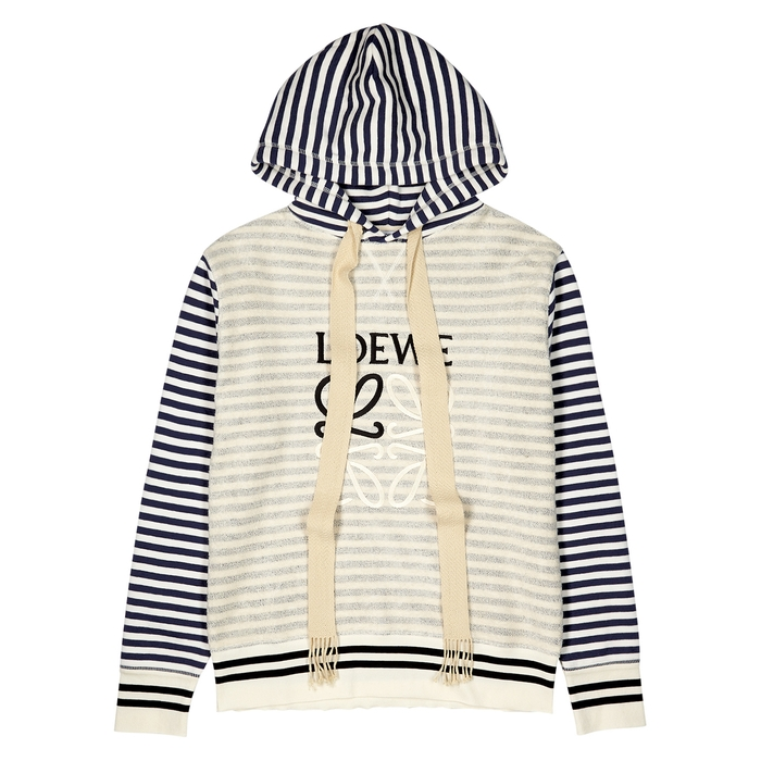 Loewe STRIPED LOGO-EMBROIDERED COTTON SWEATSHIRT