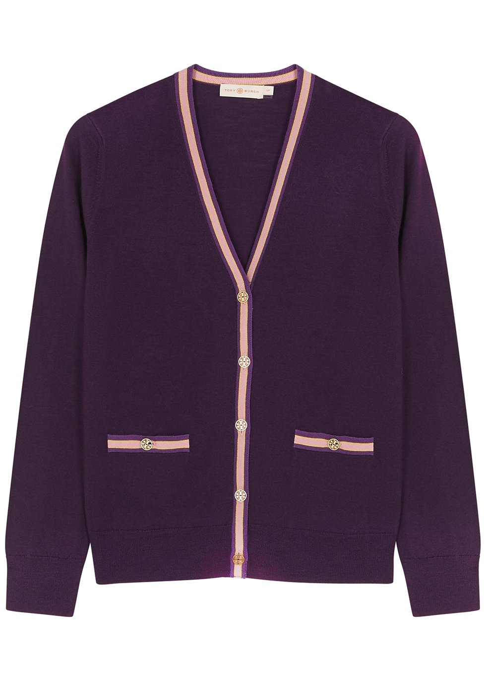 Madeline purple merino wool cardigan