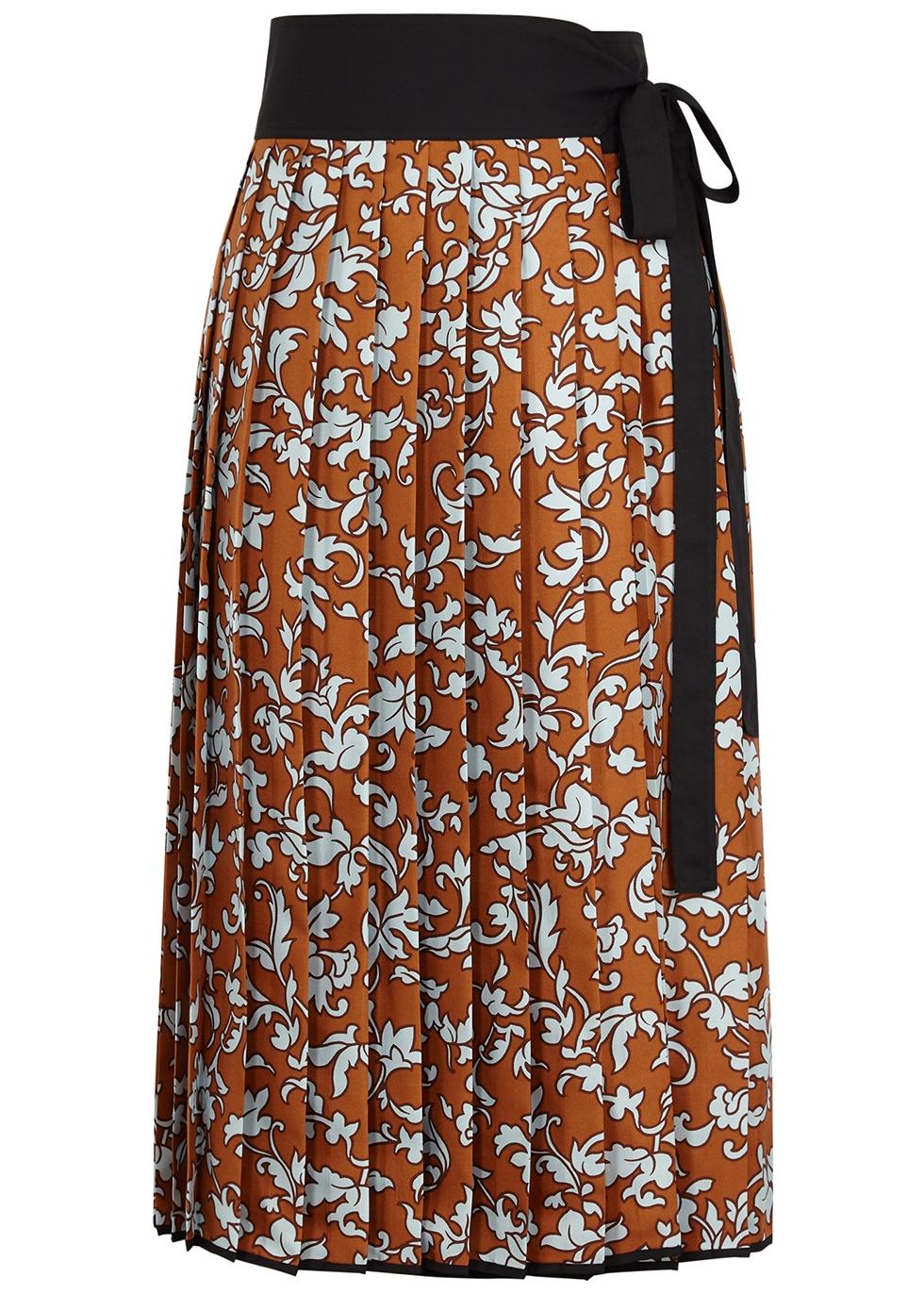 Printed pleated silk-twill wrap skirt