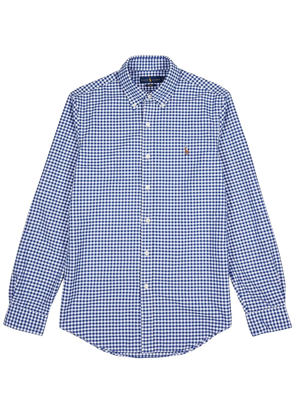 Blue checked cotton Oxford shirt