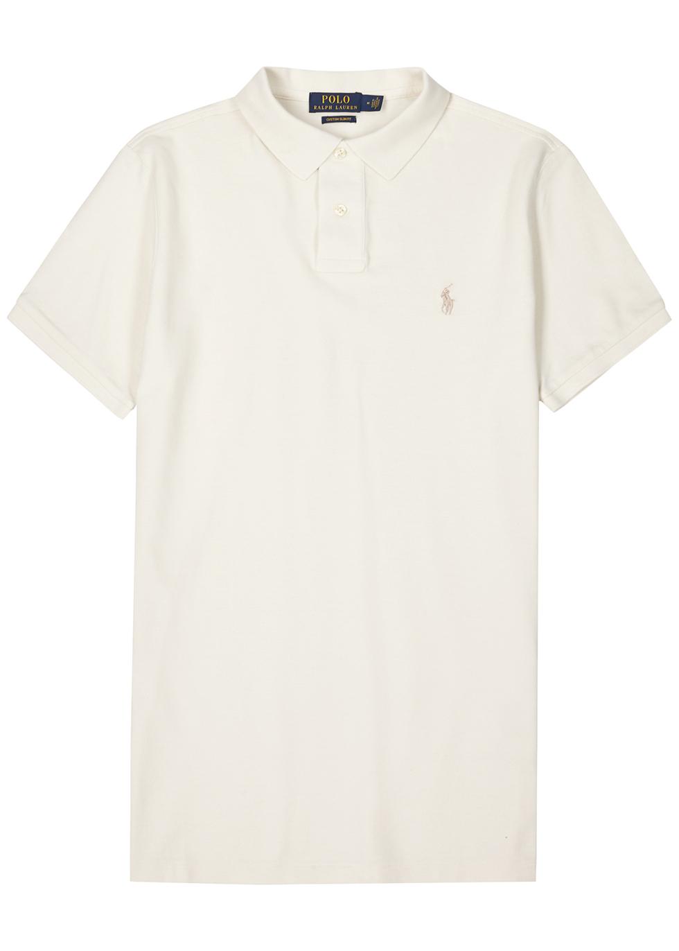 Cream custom slim piqué cotton polo shirt