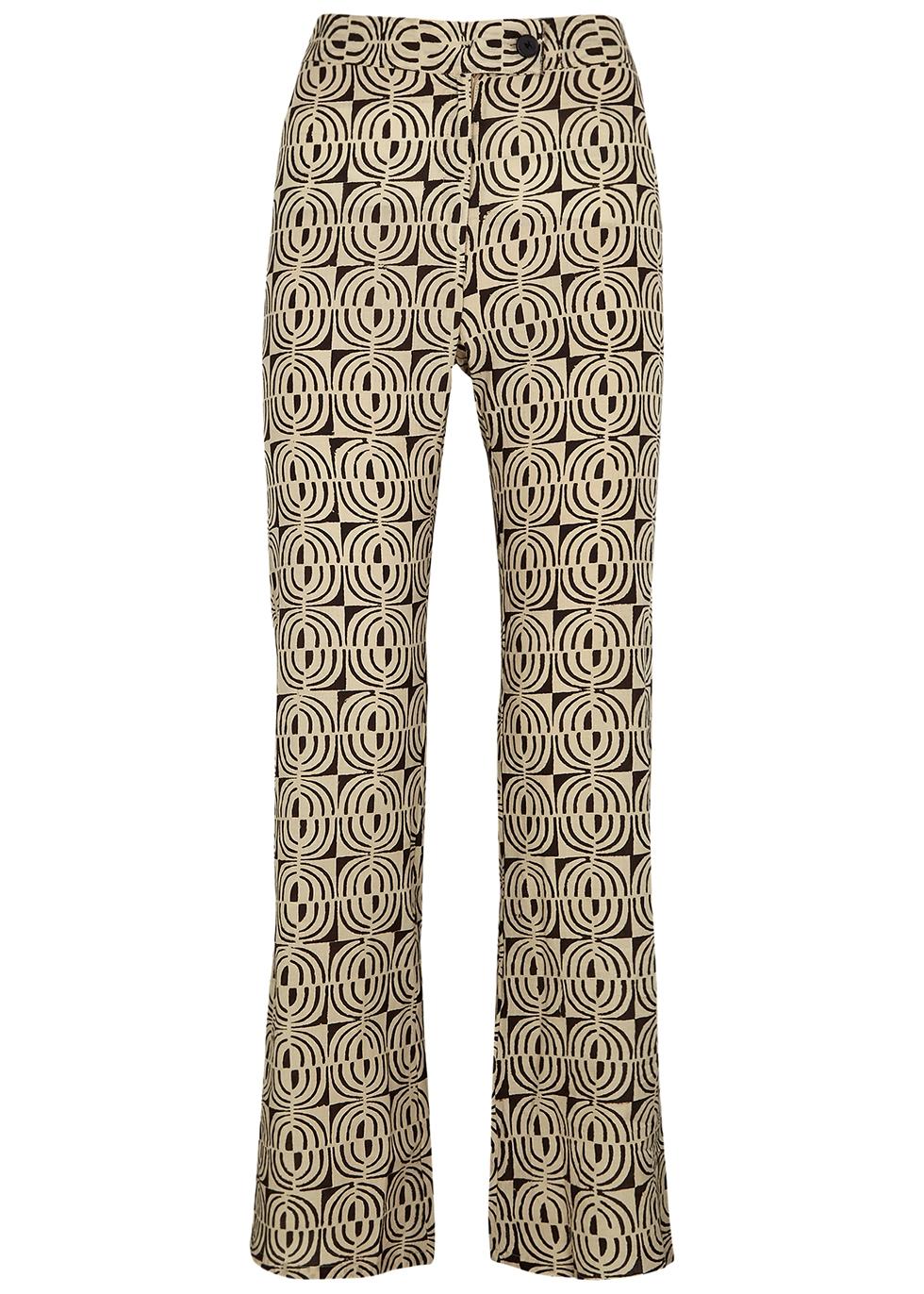 Disco printed flared-leg trousers