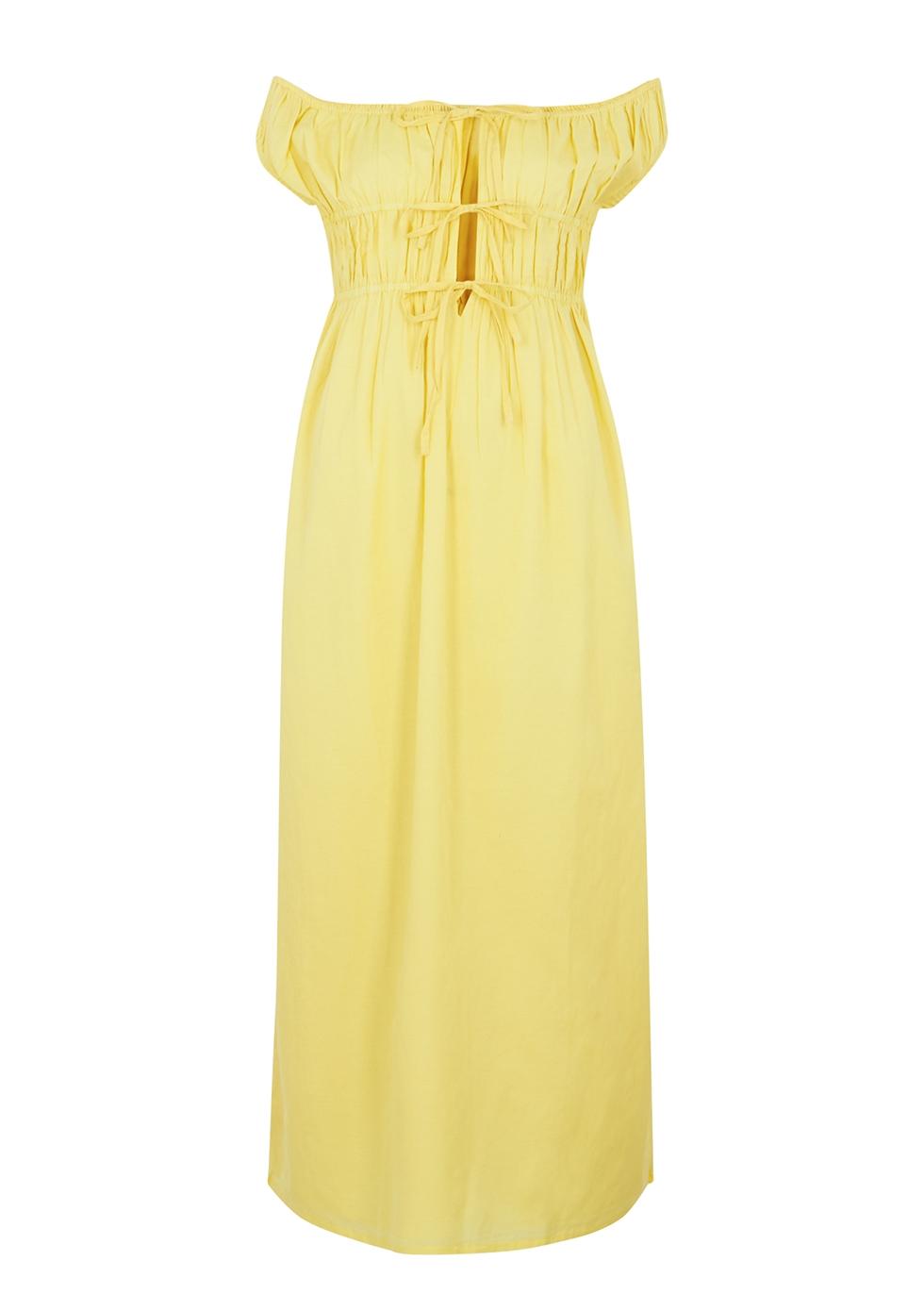 Antonia yellow off-the-shoulder midi dress