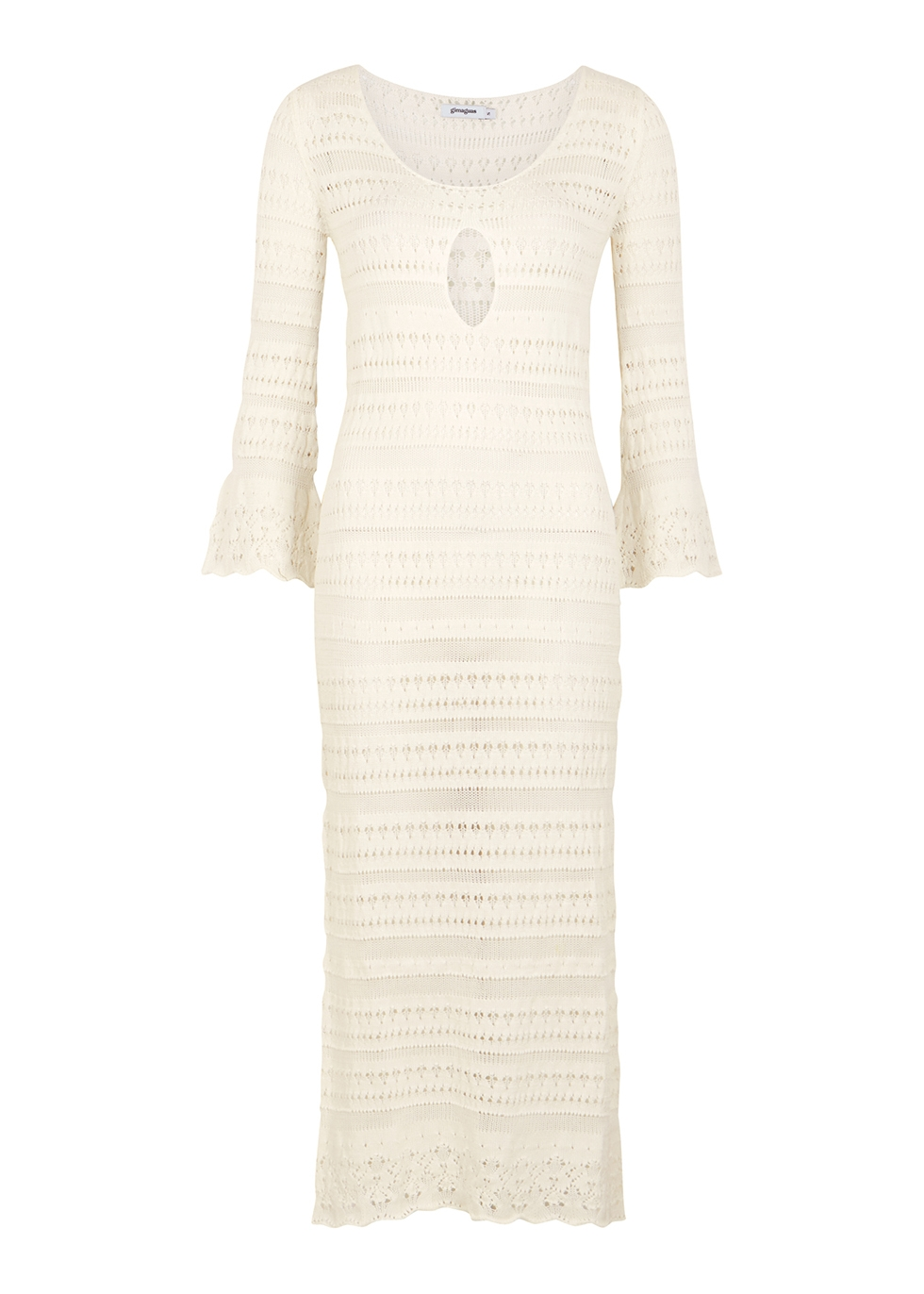 Brigitte white crochet-knit midi dress