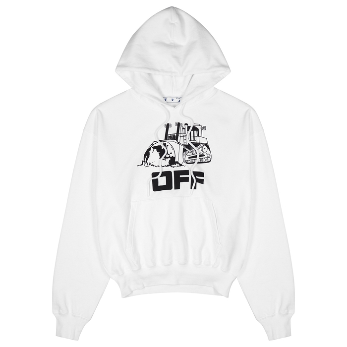 Off-White WORLD CATERPILLAR HOODED COTTON SWEATSHIRT