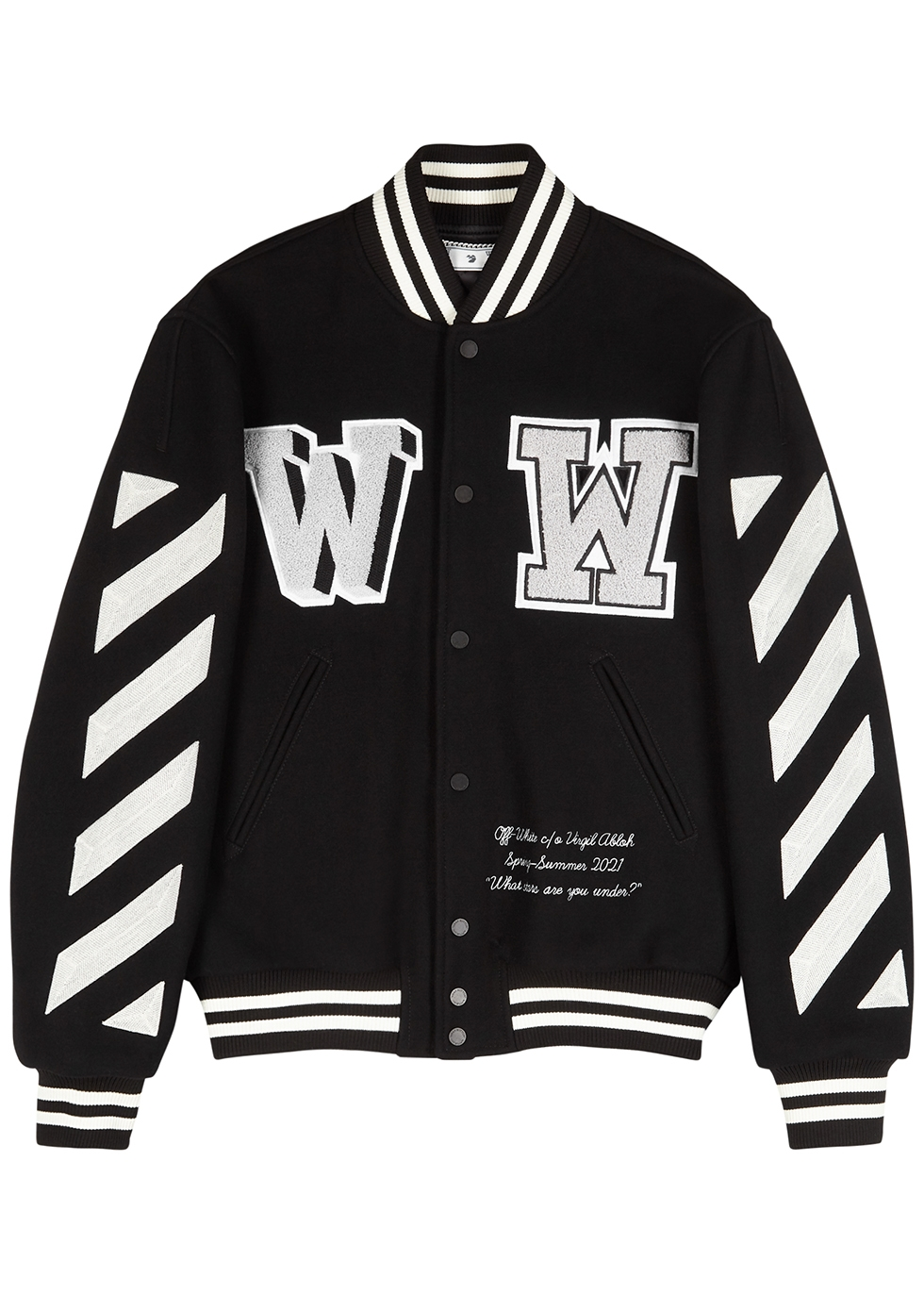Off-White BLACK APPLIQUÉD WOOL-BLEND BOMBER JACKET