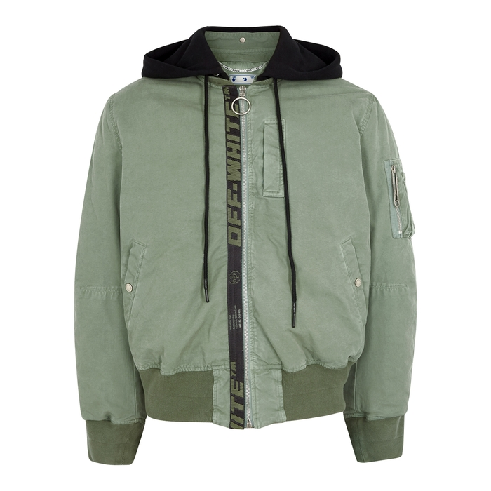 Off-White Cottons ARROWS ARMY GREEN COTTON BOMBER JACKET