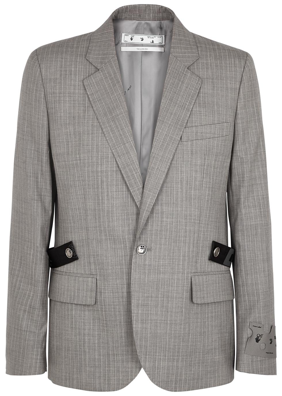 Grey belted wool blazer