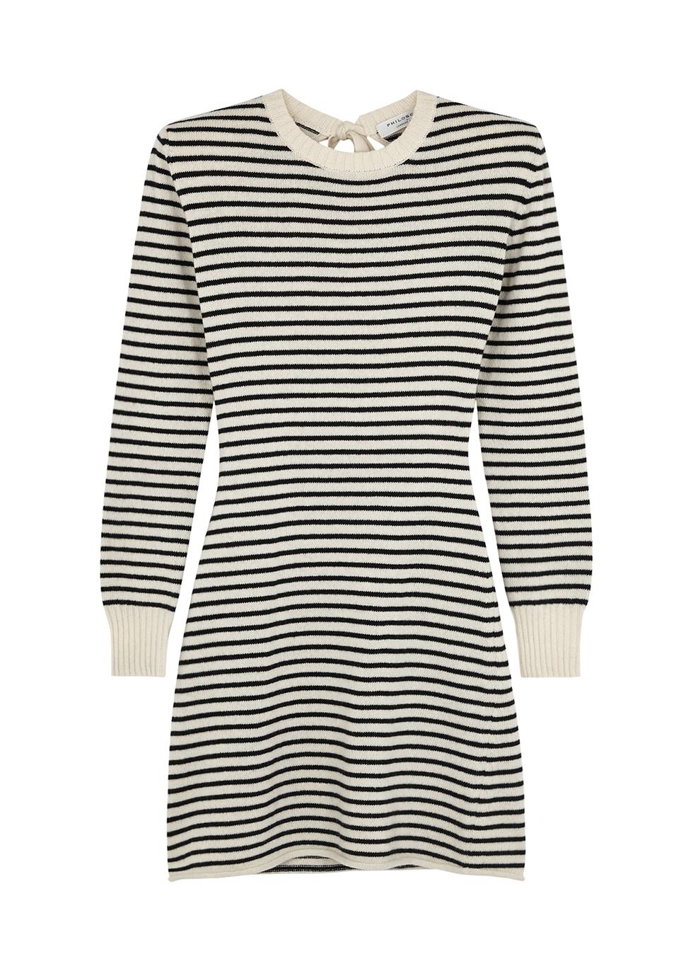 Striped cashmere-blend jumper dress