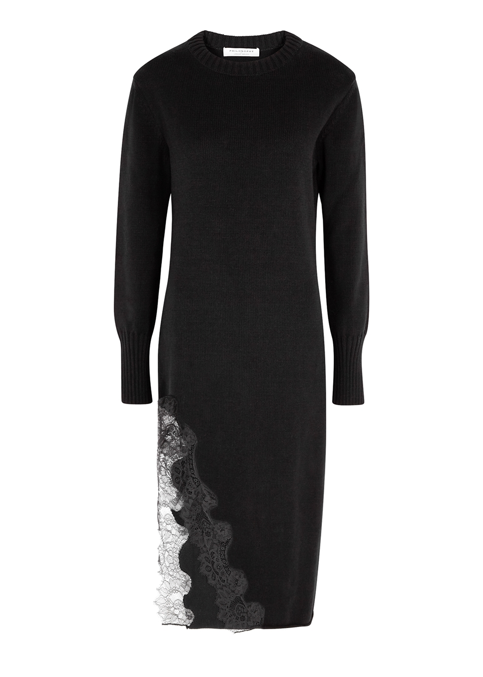 Black lace-trimmed cotton-blend jumper dress