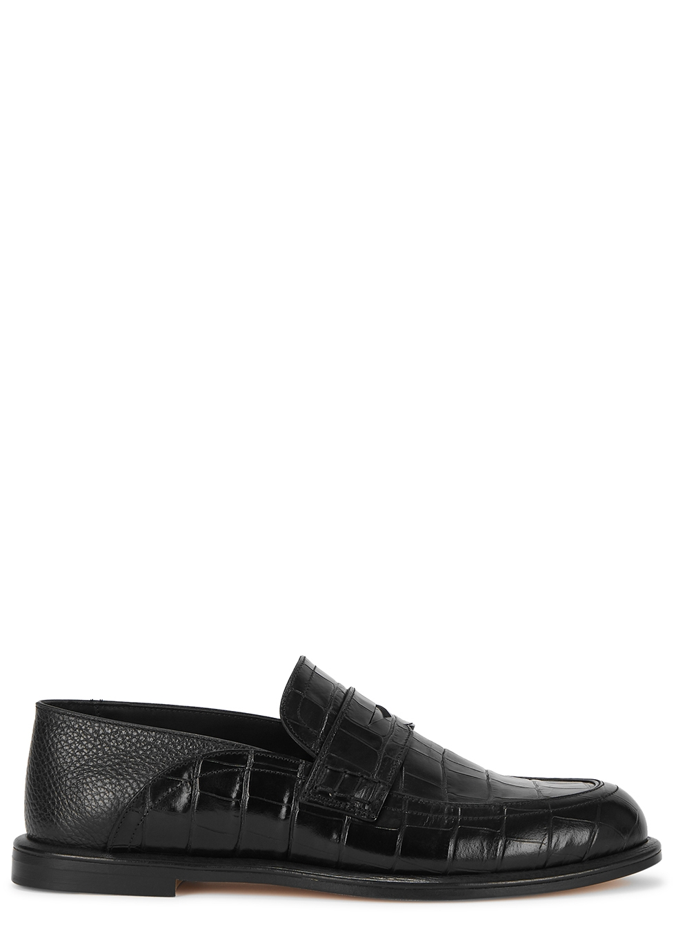 Black crocodile-effect leather loafers