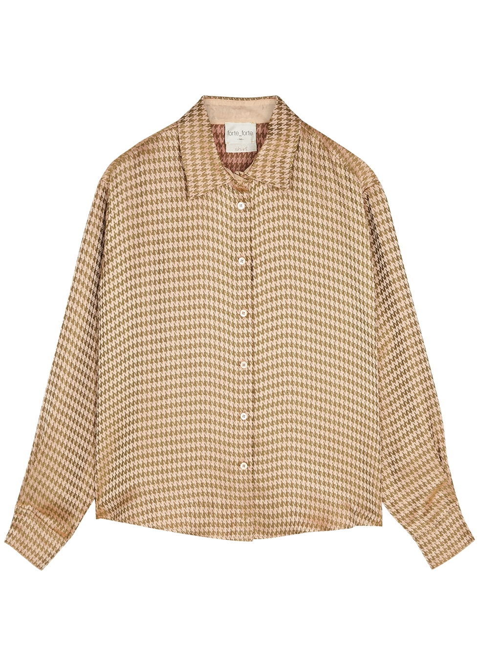 Pink and gold houndstooth-jacquard shirt