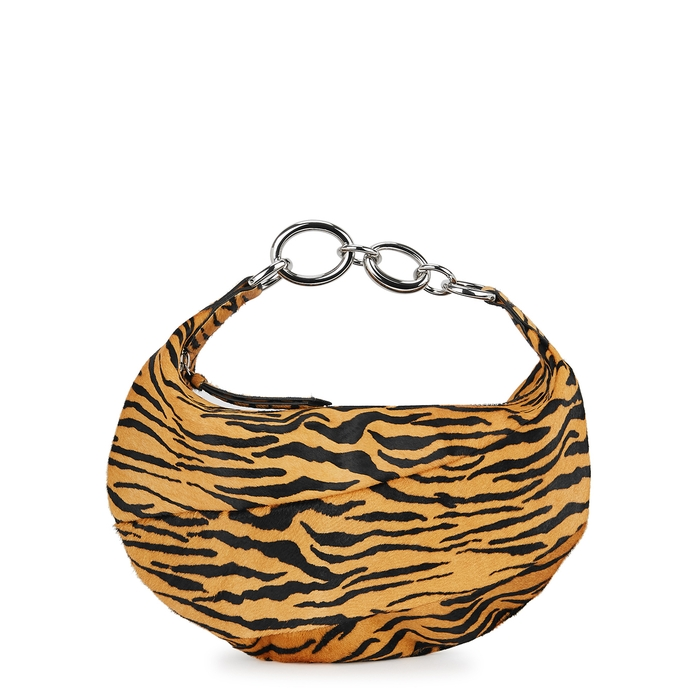 By Far BOUGIE TIGER-PRINT CALF HAIR TOP HANDLE BAG