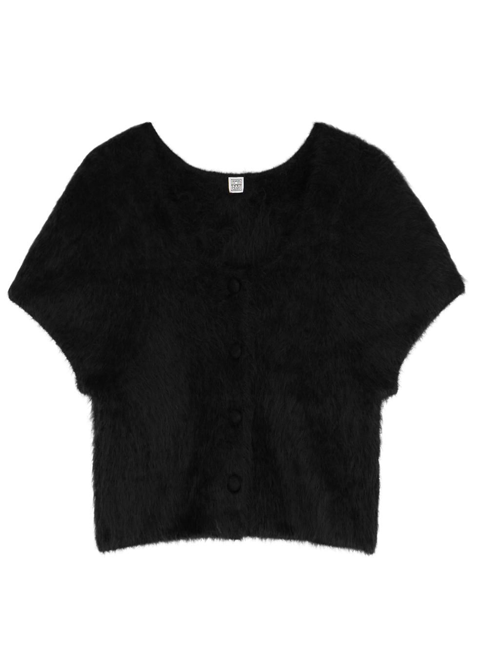 Black alpaca-blend cardigan