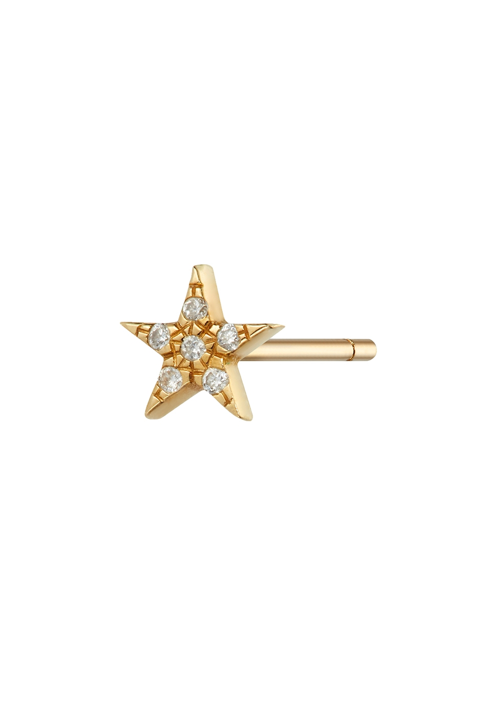 Star diamond-embellished 9kt gold stud earring