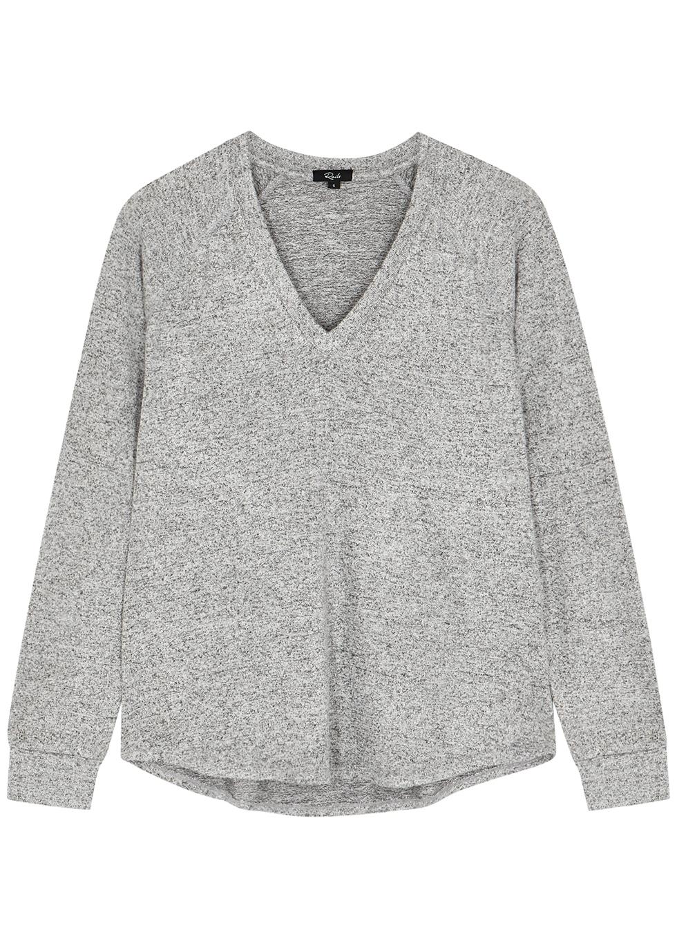Thalia grey mélange stretch-knit jumper