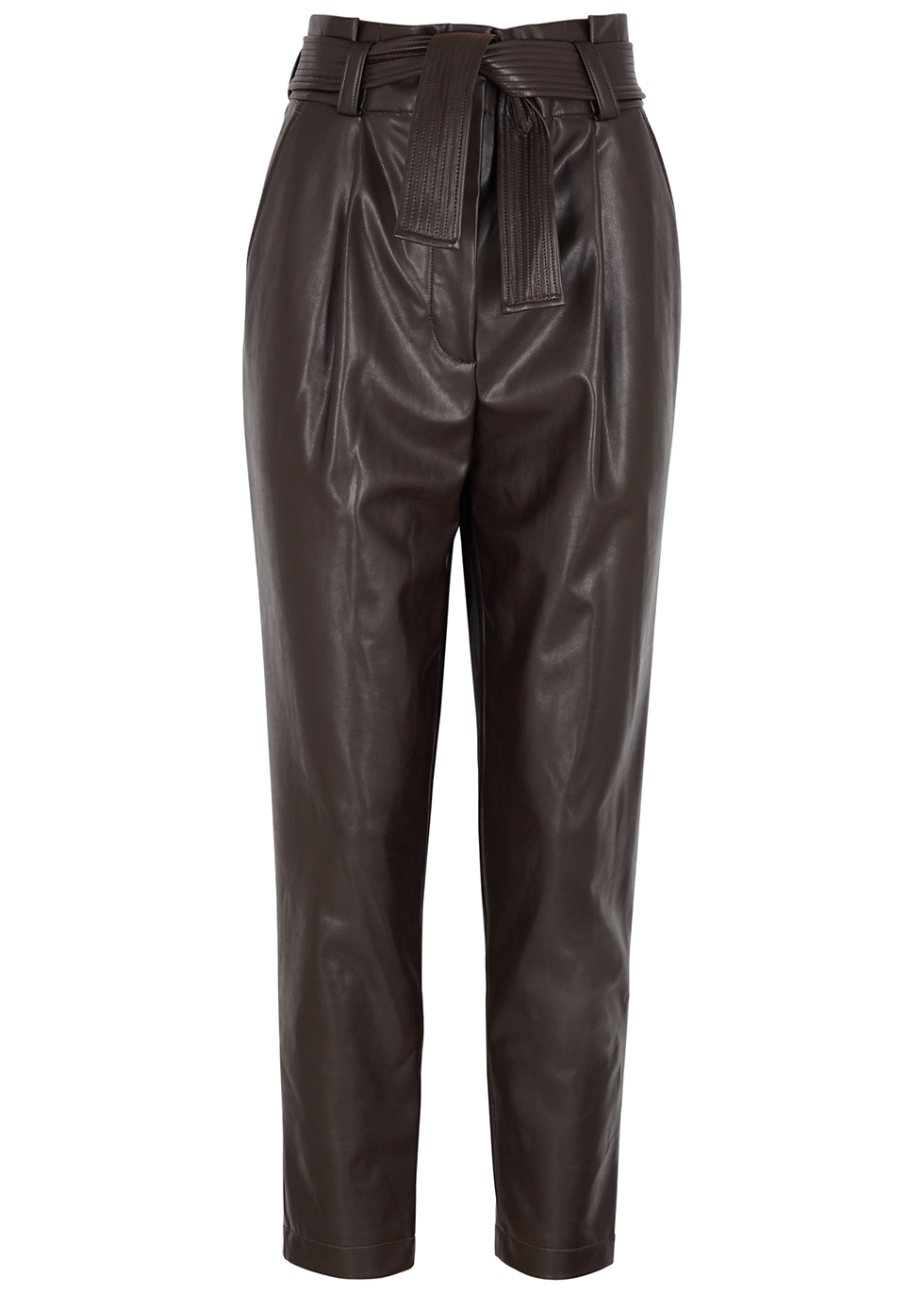 Cobey brown tapered faux leather trousers