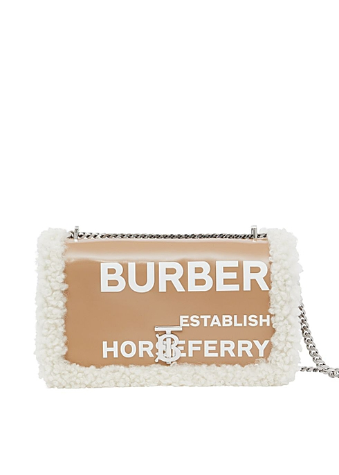 Medium coated canvas and shearling lola bag - Burberry