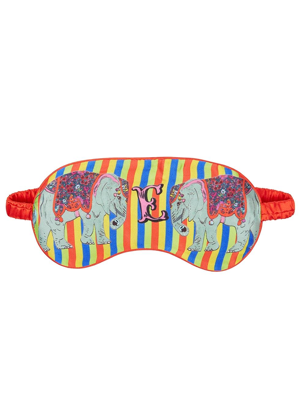 E for Elephant printed silk eye mask