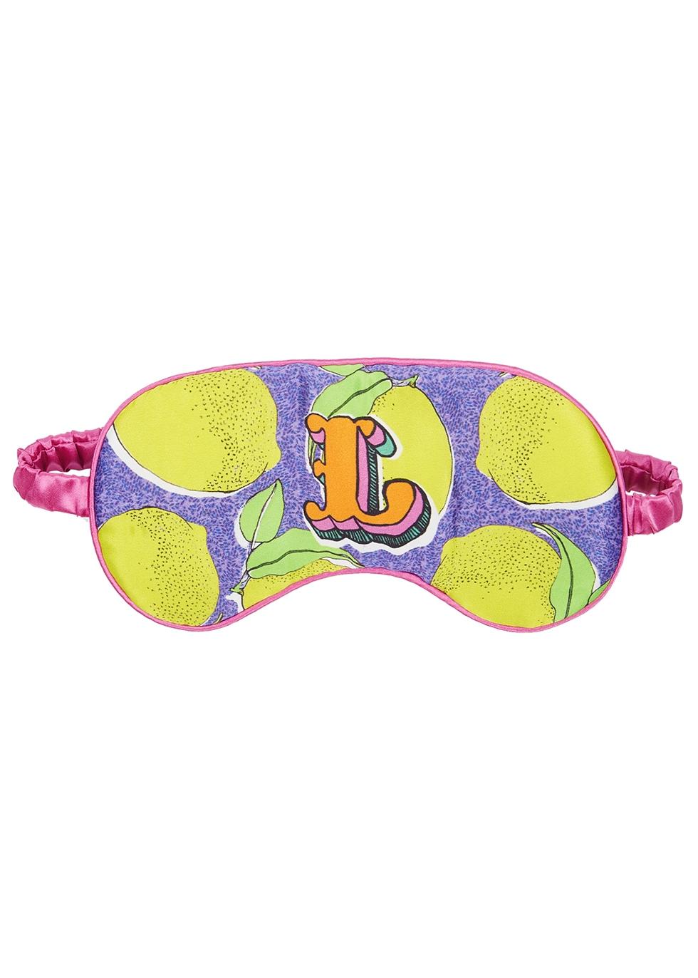 L for Lemons printed silk eye mask