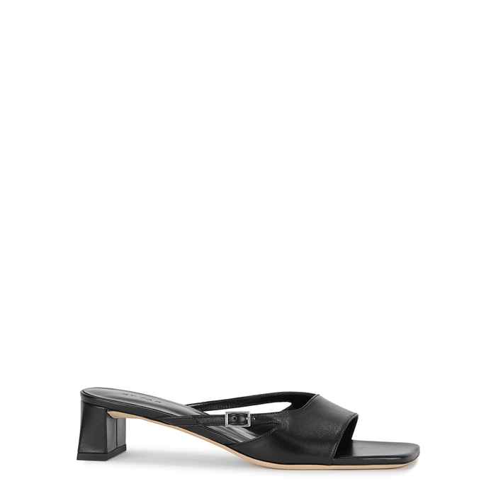 By Far PAT 50 BLACK LEATHER MULES