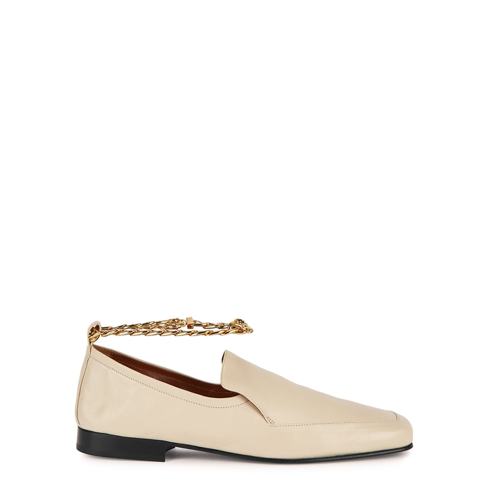 By Far NICK CREAM LEATHER LOAFERS
