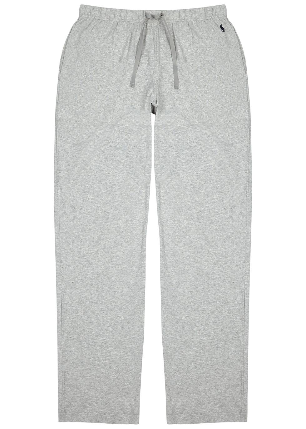 Grey mélange cotton pyjama trousers