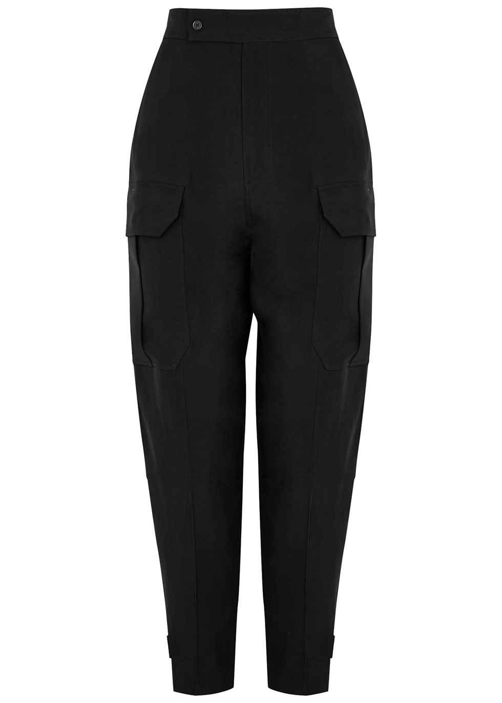 Agadire black satin-twill cargo trousers