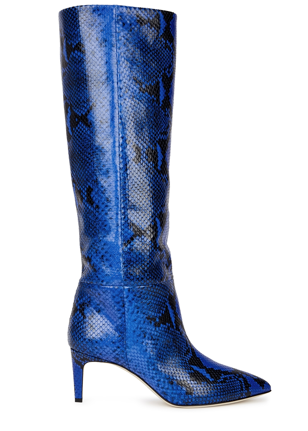 60 python-effect leather knee-high boots