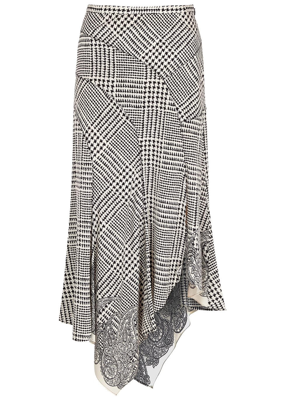 Mac houndstooth stretch-silk midi skirt