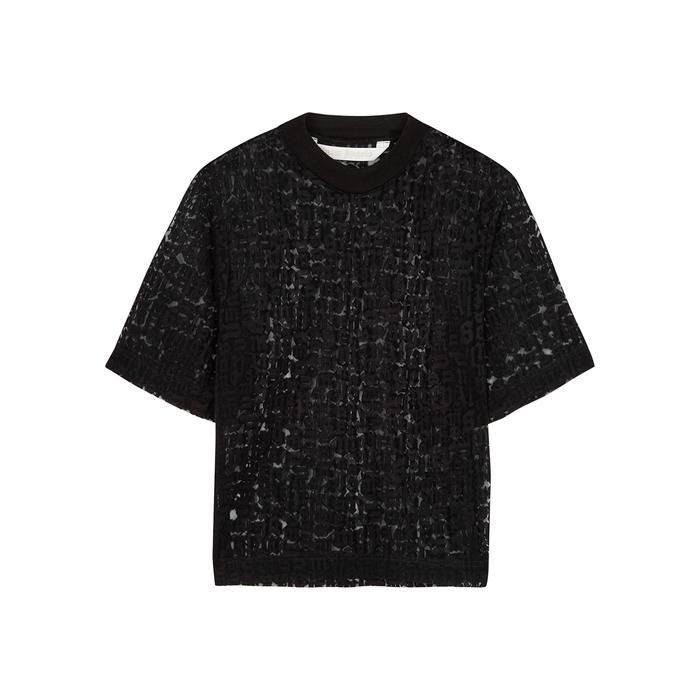 Palm Angels T-shirts BLACK LOGO-DEVORÉ T-SHIRT