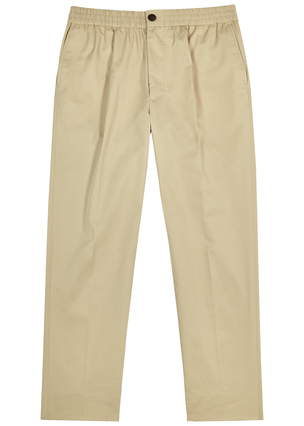 Sand cropped cotton-twill trousers