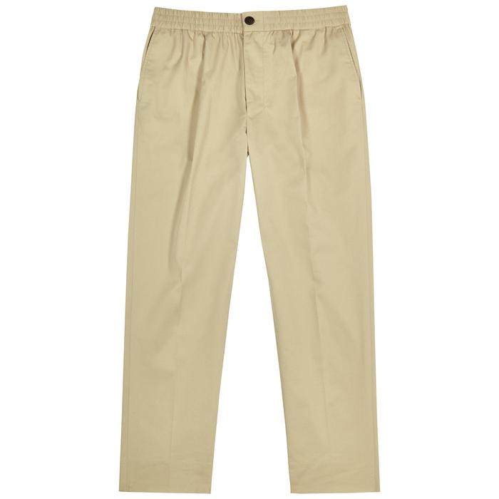 Ami Alexandre Mattiussi Sand Cropped Cotton-twill Trousers In Beige