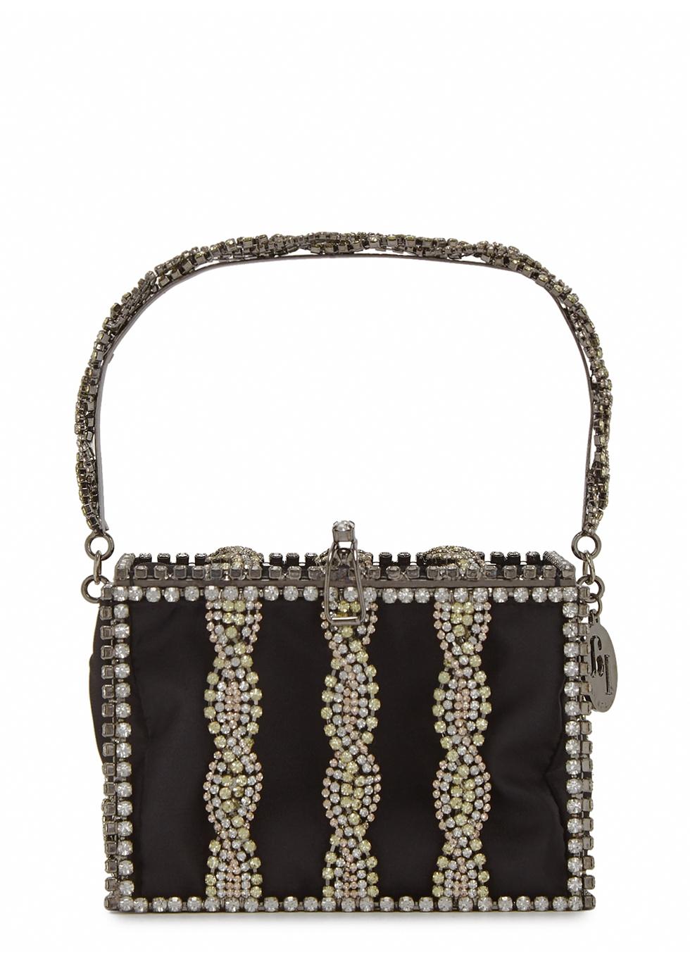 Tresse crystal-embellished box bag