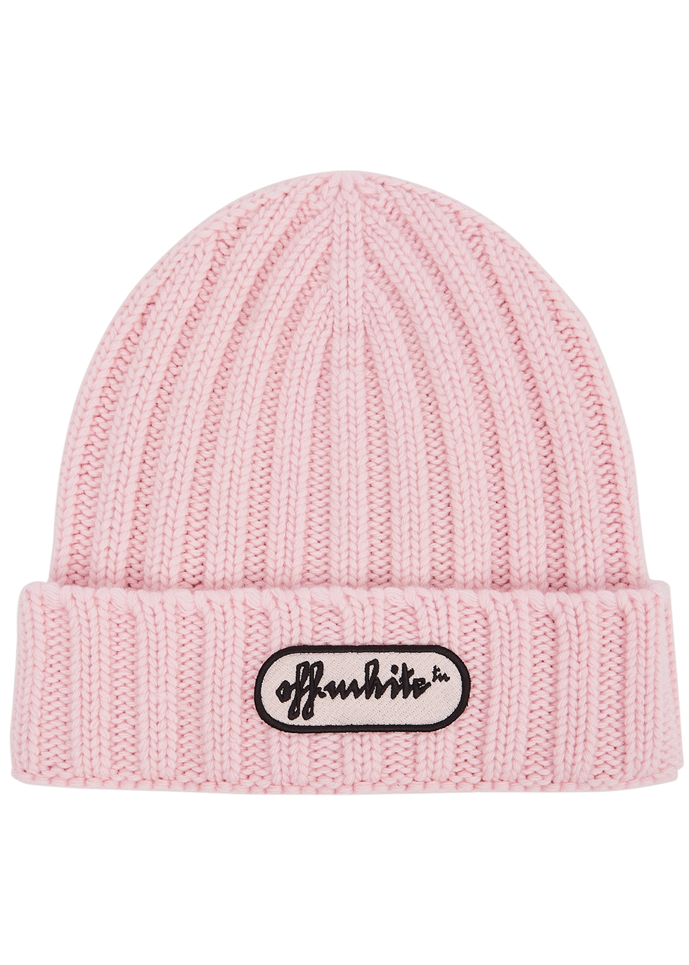 Light pink ribbed wool beanie