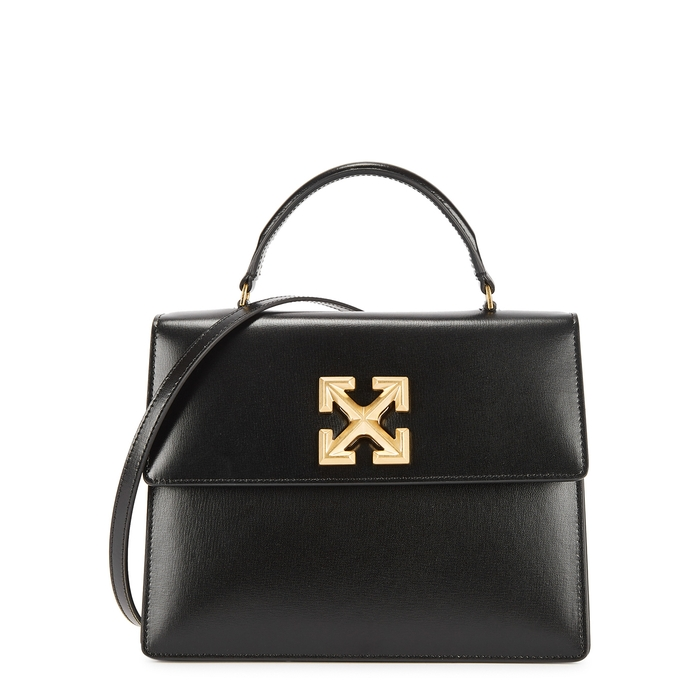 Off-white Jitney 2.8 Black Leather Top Handle Bag