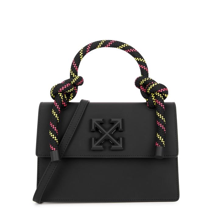 Off-white Gummy Jitney 1.4 Nubuck Top Handle Bag In Black