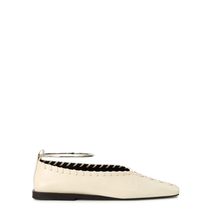 JIL SANDER CREAM WHIPSTITCHED LEATHER FLATS