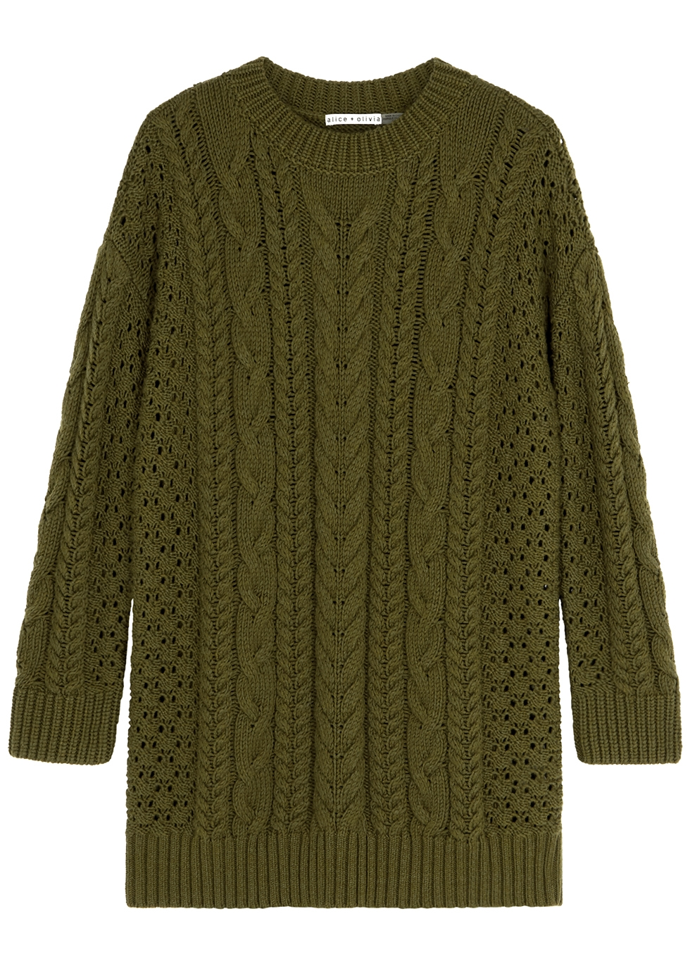 Lennie army green wool-blend jumper dress