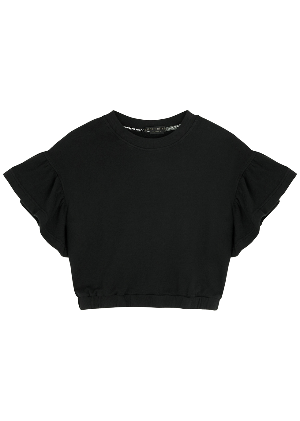 Joline black ruffle-trimmed cotton sweatshirt
