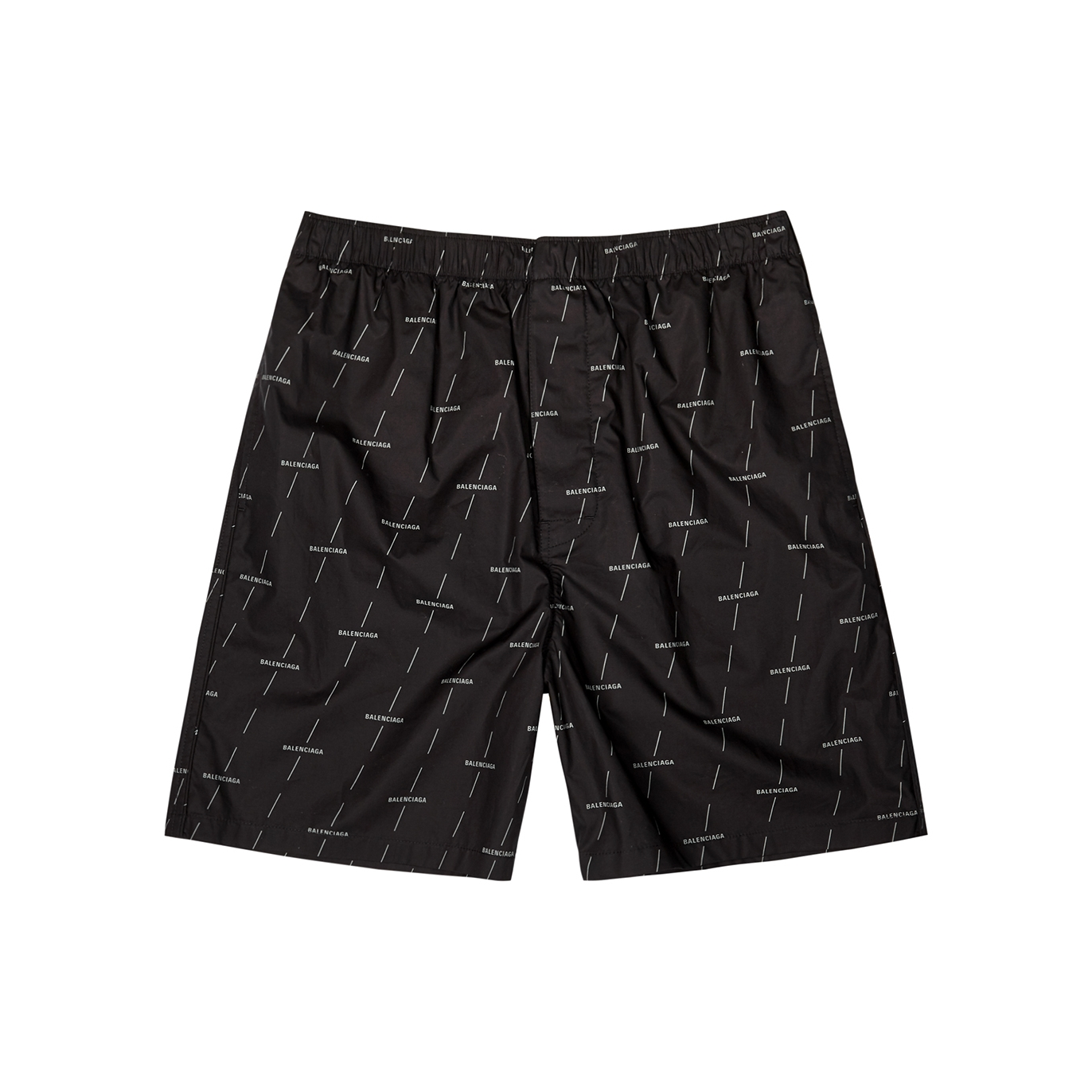Balenciaga Black Logo Print Cotton Poplin Shorts Harvey Nichols